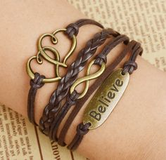 """COWGIRL ATTITUDE BRACELET """"Believe"""" with Double Hearts N Infinity Charm Brown Leather Western Bracelet"""