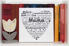 Individueller geht es nicht mehr: Deine Worte, liebevoll zusammengestellt und grafisch ergänzt, als handgefertigter Druck auf Holz aus dem Sommerweg Cover, Printing On Wood, Unique Gifts, Heart, Handmade, Printing, Amor, Slipcovers