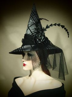 "Couture Witch Hat ""Formal Affair"" 21"" One of a Kind"