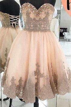 Champagne lace sweetheart pearl A-line prom dresses,short formal dresses for teens