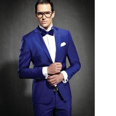 royal blue hot sales Groom tuxedos one button Groomsmen Mens Wedding party Suits( jacket+Pants+tie)two-piece