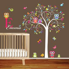Swirl Tree Vinyl Wall Decal set with leaves,flowers birds,owls vinyl wall decal sticker nursery colorful. $145.00, via Etsy.