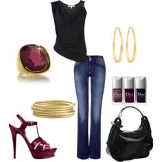 I like the simplicity of sexy, but casual jeans, high heels in JMU purple, with gold accesories and the gorgeous cocktail ring to tie it all together! I also like the idea of including nail polish. Details! Details!