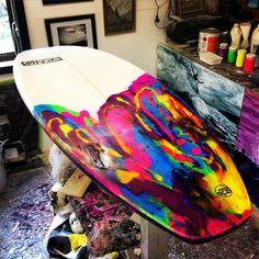 Resin tint on a Vanda EPS 'penguin' model short board @vandasurf Instagram photos | Websta