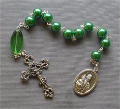 Handmade Saint Peter  8mm Green Pearl Glass by JaysReligiousGifts