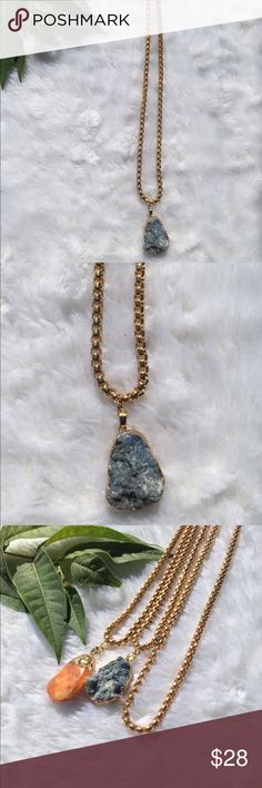 """🍂NEW🍂•Unisex•Blue Calcite & Gold Tone Rope Chain Calming Blue Calcite soothes frayed nerves and lessens anxieties. A good stone to use when recuperating, It facilitates physical healing by clearing negative emotions and encouraging rest and relaxation. Working with the Third Eye Chakra, This Crystal can enhance or activate the intuition and inner sight  **Rough Stone   Zodiac : Cancer & Pisces    *Perfect to wear a statement piece alone or layered with chains .   Measures 24""""+1.5"""" Gold…"""