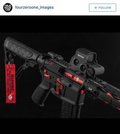 "This week on Cool Guns of The Internet. Todays post is brought to you by the color Red and real life video game guns.All you have to do is send us a picture of your firearms via email, at ""pictures… Ar Pistol, Assault Rifle, Ar 223, Custom Ar15, Custom Guns, Airsoft Guns, Weapons Guns, Guns And Ammo, Glock Guns"