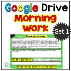 This is a digital resource that is meant to be used in Google Drive. It's perfect for morning work or as a technology based literacy center. Included in this resource are 20 days of activities. There are 4 different comprehension passages. Each passage has 5 activities.