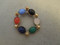 Gold Tone and Pressed Glass Scarab Pin 1960s by thejeweledbear on Etsy