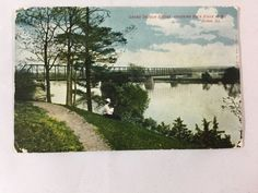 1908 Grand Detour Bridge, Rock River above Dixon, IL postcard
