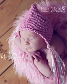 Knitting PATTERN - Baby Bonnet Pattern - Pixie Hat Pattern - Instant Download PDF 287 - Newborn to Adult - Photo Prop Pattern