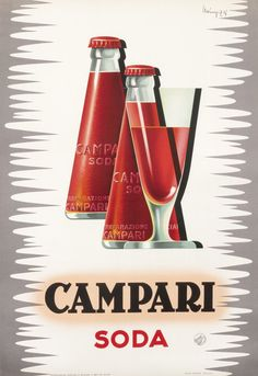 Vintage Italian Campari Soda Bottle and Goblet 1950 Red and Grey by Mingozzi, Poster or Canvas