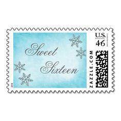 Sweet 16 Winter Wonderland Sparkle Snowflakes Teal Stamp