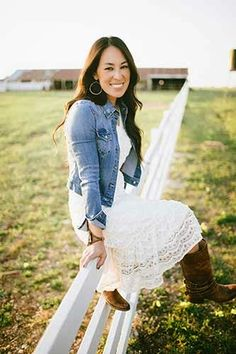 lace dress with jean jacket and boots Joanna Gaines