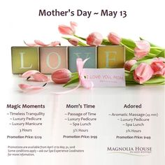 What Spa Getaway are your getting Mom this year? She will love the Gift of Spa! To order your Mom's Spa Getaway contact the spa at Mothers Day May, Luxury Spa, Magnolia Homes, Spa Day, Gta, Salons, Manicure, Relax, Place Card Holders