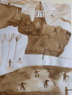 winterlandschap naar Bruegel, uitvoering met bister.