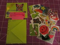 This shows the front, the back (where the signers will sign) and the contents of a sticker bag. Booklet, Contents, Gift Wrapping, Sign, Stickers, Paper, Handmade, Gift Wrapping Paper, Hand Made