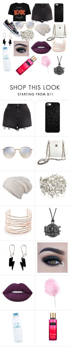 """""""Festival"""" by dylanandclaire ❤ liked on Polyvore featuring Ksubi, Ray-Ban, Chanel, STINNE GORELL, Oscar de la Renta, Alexis Bittar, AC/DC, Too Faced Cosmetics, Lime Crime and Victoria's Secret"""