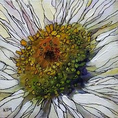 'Daisy Delight' 4x4 acrylic ©Karen Margulis sold    Put a fine tip black pen in my hand and I am in heaven. Doodle Hea...
