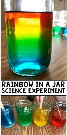Rainbow In A Jar Science Experiment This is such a great science experiment to teach about density. activities Rainbow In A Jar Science Experiment - Primary Playground Preschool Science Activities, Science Projects For Kids, Easy Science Experiments, Science For Kids, Preschool Activities, Science Fun, Summer Science, Science Classroom, Science Centers