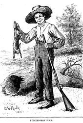 Huckleberry Finn, as depicted by E. W. Kemble in the original 1884 edition of the book