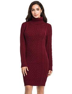 9040fd3ce4 PrettyGuide Women s Knit Sweaters Long Sleeve Turtleneck Stretchy Sweater  Dress XL Burgundy