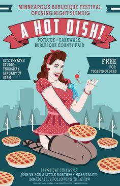 A HOT DISH! Burlesque Festival Poster - Sarah Hedlund Illustration & Design