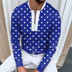 BrosWear Fashion Men's Thin Polka Dot Print Long Sleeve Polo Shirt Polka Dot Print, Polka Dots, Baseball, Linen Tshirts, Pullover Designs, Satin Midi Dress, Winter Trends, Long Sleeve Polo, Collar Styles