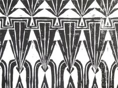 Black and White Art Deco Repeating Geometric Block Print