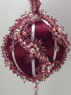 Pink Whirl in Burgundy - A Finished Hand Made Beaded Satin Ornament With Crystals Beaded Christmas Decorations, Victorian Christmas Ornaments, Quilted Christmas Ornaments, Christmas Bulbs, Sequin Ornaments, Beaded Ornament Covers, Fabric Ornaments, Xmas Crafts, Creations