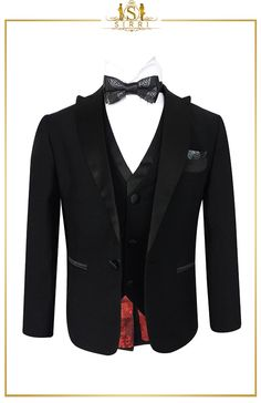 A lovely black formal tuxedo suit by Device for the young man who needs to have that special suit for a special day. .The fully lined jacket features a peak satin lapel. It is single breasted with two front jetted pockets and a left chest pocket. Shop now at SIRRI kids #boys formal wear #kids suits #page boy outfits