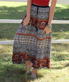 Love this Navy & Red Paisley Drawstring Maxi Skirt by Angie Apparel on #zulily! #zulilyfinds