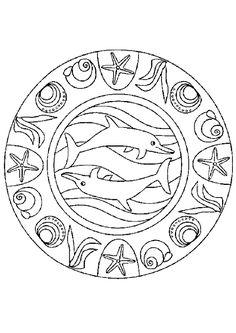 Mandala dauphin escargot, à colorier