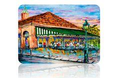 Café du Monde, Jackson Square, New Orleans French Quarter, New Orleans Art, New… Louisiana Art, New Orleans Art, New Orleans French Quarter, Jackson Square, Colorful Paintings, Impressionist, Canvas Art, Canvas Ideas, Glass Art