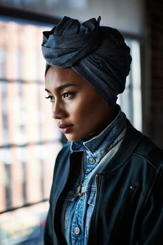 denim on denim head wrap with track jacket