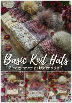 Chunky Knit Hats Beginner knitting pattern with three different patterns in one! Great deal on these three classic knitting patterns with options to knit in the round or flat! Love these simple, trendy beginner-friendly knit hat patterns! Beginner Knitting Patterns, Loom Knitting, Free Knitting, Knitting Projects, Crochet Patterns, Hat Patterns, Diy Knitting For Beginners, Knitting Tutorials, Vintage Knitting