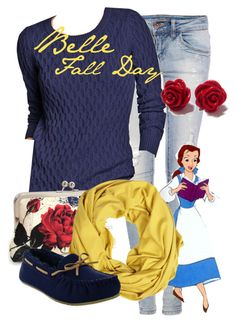Belle Fall Day by amarie104 on Polyvore featuring polyvore fashion style Old Navy Pull&Bear VILA Disney clothing