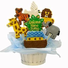 Noah's Ark Sugar Cookie Basket from Baby Gifts and Gift Baskets