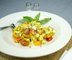 Crepe Fettuccine with Tomatoes, Fresh Mozzarella and Pesto / @DJ Foodie / DJFoodie.com