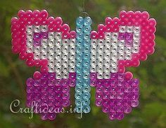 Spring Kids Craft - Fuse Beads or Perler Beads Butterfly