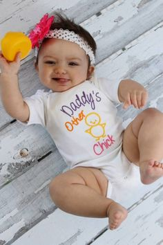 Baby Girl Clothes Embroidered  with Daddy's Other Chick  Embroidered Newborn Girl Take Home Outfit New Baby Gift by sassylocks on Etsy https://www.etsy.com/listing/177708237/baby-girl-clothes-embroidered-with