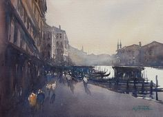 Canal Grande, Venice II by Keiko Tanabe Watercolor ~ 8 1/4 x 11 1/2 inches (21 x 29 cm)