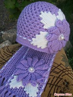 Flower #crochet hat and scarf.