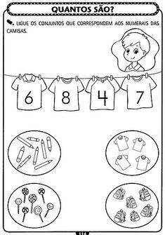 Professores Compartilhando Atividades: Atividades de matemática para Educação Infantil - A ARTE DE EDUCAR Kindergarten Centers, Math Centers, Kindergarten Worksheets, Math Activities, John Kennedy Jr, Simple Math, Working With Children, Homeschool, Teaching