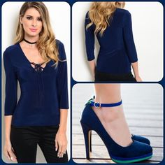 Navy Blue Top This lovely top features a tip detail on front panel and quarter sleeves with fitted silhouette. Jersey knit comfy top! (This closet does not trade or use PayPal) Shoe pic/Pinterest True Light Tops