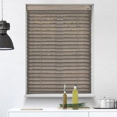 Battery Powered Greyed Oak Electric Wooden Blinds at Controlis Living Room Blinds, House Blinds, Blinds For Windows, Fabric Blinds, Curtains With Blinds, Blinds Diy, Patio Blinds, Blinds Ideas, Bathroom Blinds