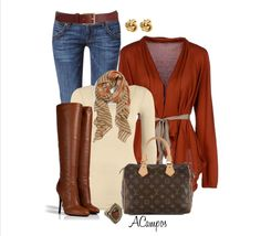 Neutrals, tans, browns and a reddish/orange sweater. No gold, please.