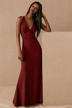 This chic v-neck dress flatters curves with a stretchy crepe construction and a sleek fit that flares at the hem. Front seaming on the bodice accentuates the waist.Only available at BHLDN Discount Bridesmaid Dresses, Burgundy Bridesmaid Dresses, Burgundy Dress, Wedding Bridesmaid Dresses, Bridesmaids, Burgundy Wedding, Mob Dresses, Satin Dresses, Formal Dresses