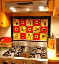 Custom Made Kitchen Backsplash In Red Gold And Black Fused Glass Custom Tiles