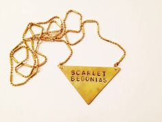 "Stamped Metal Triangle Pendant Necklace: Grateful Dead song ""Scarlet Begonias"""